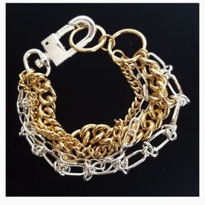 BCBG Gold/Silver-Toned Mixed Multi Chain Bracelet